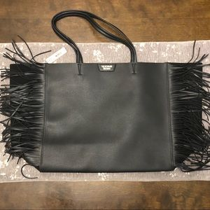NWT Victoria's Secret Black Fringe Tote Bag